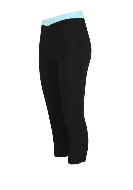 Women's Contrast Capri Legging, BLACK, hi-res