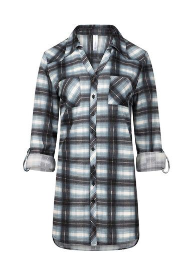 Women's Knit Plaid Tunic Shirt, PALE BLUE, hi-res