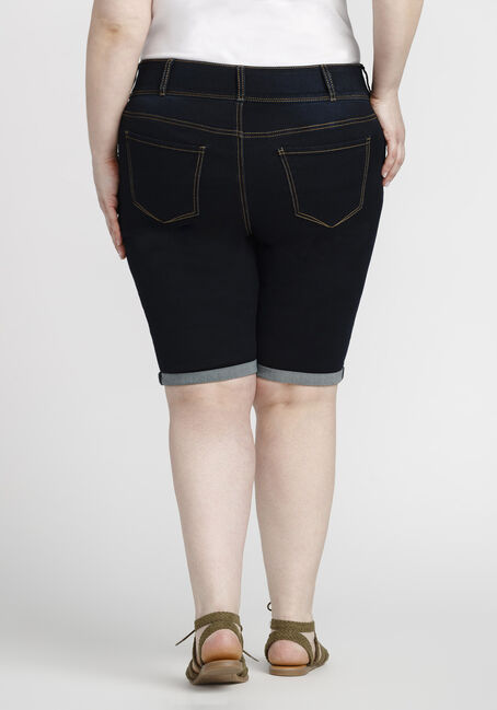 Women's Plus Size Bermuda Jean Short, DARK WASH, hi-res