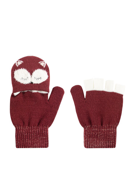 Women's Fox Flip Mittens, BURGUNDY, hi-res