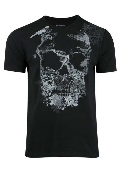 Men's Foliage Skull Tee, BLACK, hi-res