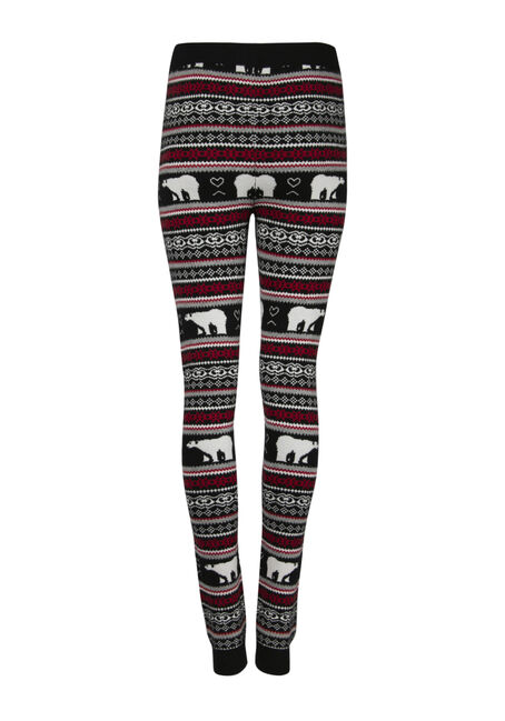 Ladies' Polar Bear Sweater Legging, BLK/WHT, hi-res