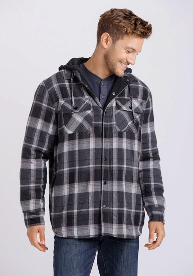 Men's Flannel Plaid Jacket, BLACK, hi-res