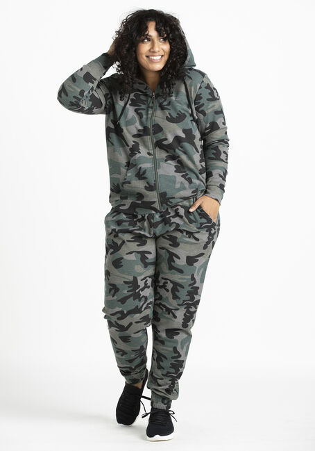 Women's Thermal Camo Zip Front Hoodie, OLIVE, hi-res