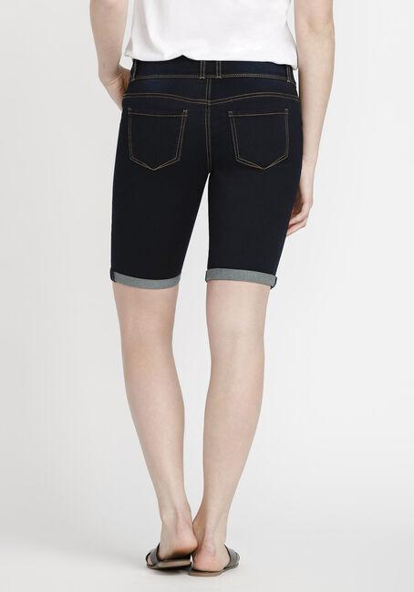 Women's Bermuda Jean Short, DARK WASH, hi-res