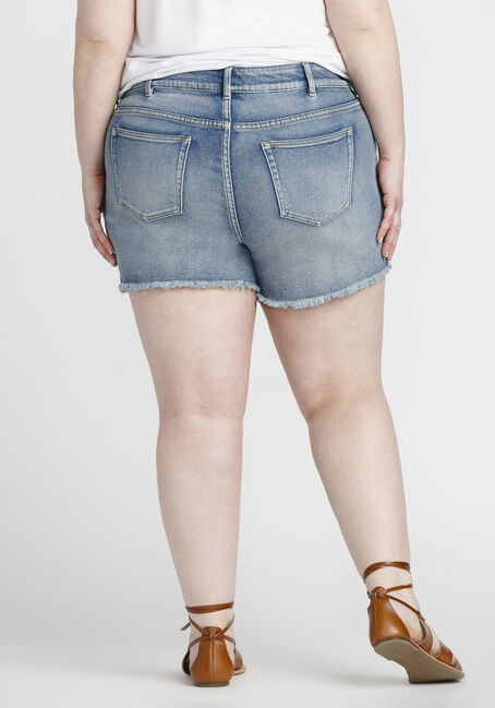 Women's Plus Size Embroidered Short, MEDIUM WASH, hi-res
