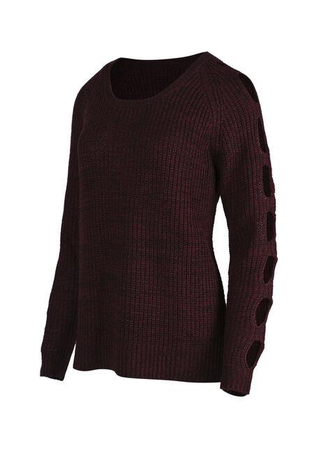 Ladies' Cut Out Sleeve Sweater, WINE/BLACK, hi-res