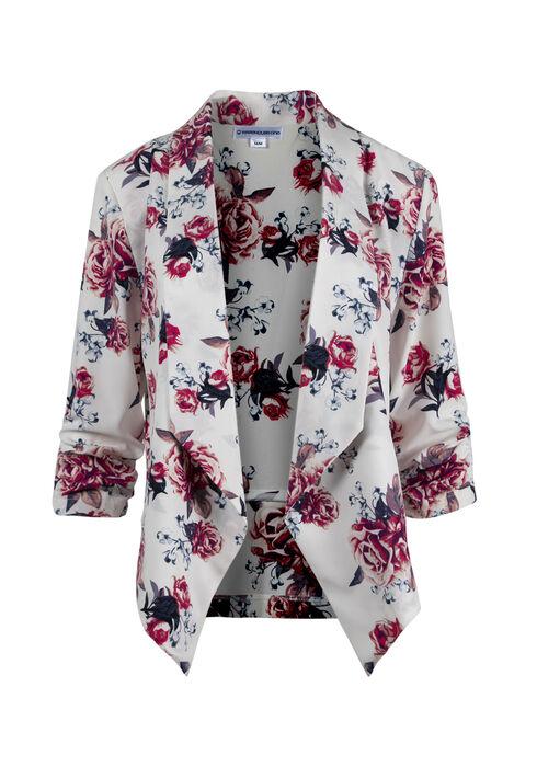 Ladies' Floral Blazer, WHITE, hi-res