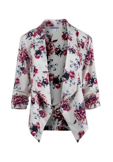 Women's Floral Blazer, WHITE, hi-res