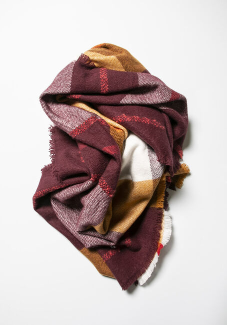 Women's Plaid Blanket Scarf, BURGUNDY, hi-res