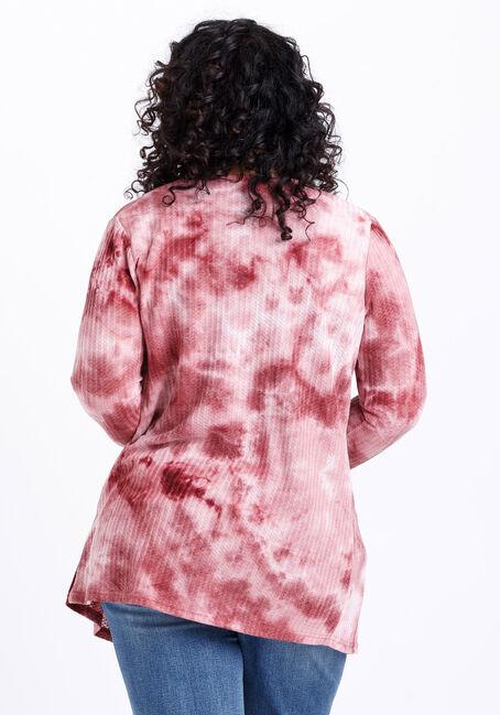 Women's Tie Dye Waffle Knit Cardigan, SANGRIA, hi-res