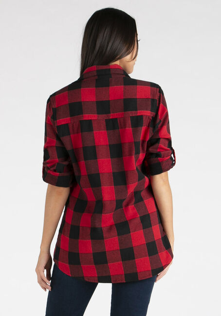 Women's Twill Plaid Shirt, RED/BLACK, hi-res