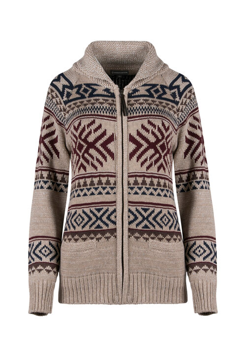 Ladies' Nordic Zip Cardigan, OATMEAL, hi-res