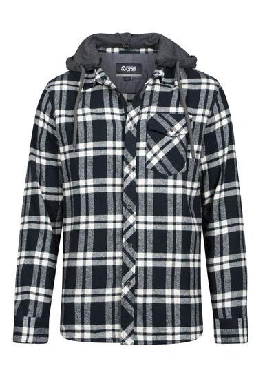 Men's Hooded Flannel Shirt, MIDNIGHT NAVY, hi-res