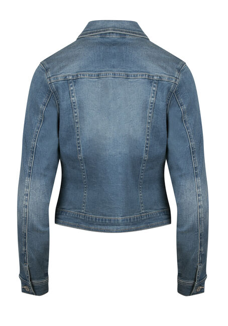 Ladies' Super Soft Jean Jacket, MEDIUM WASH, hi-res