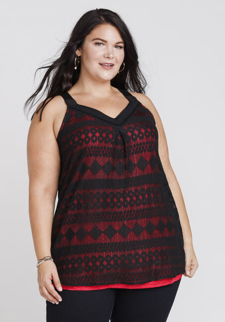 Women's Overlay Shimmer Tank, BLACK/RED, hi-res