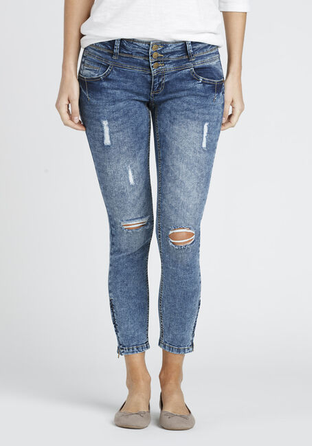 Ladies' Ankle Zip Destroyed Skinny Jean