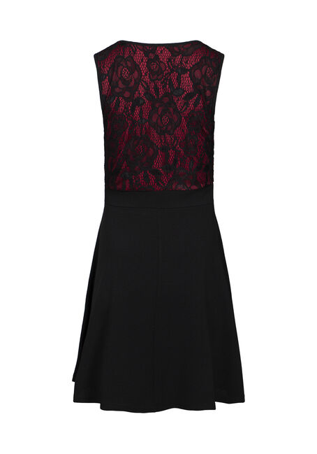 Women's Lace Fit & Flare Dress, BLACK, hi-res
