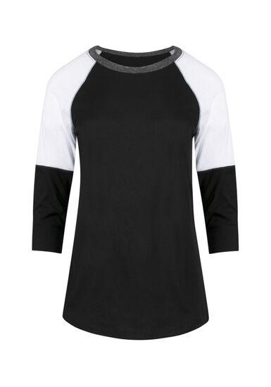 Ladies' Colour Block Tee, BLACK/ CHAR/ WHITE, hi-res