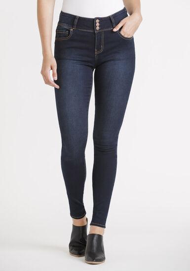 Women's 3 Button Waist Skinny Jeans, DARK WASH, hi-res
