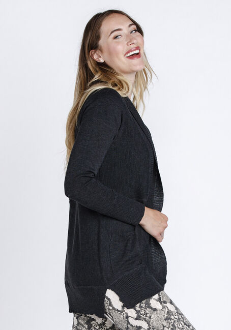 Womens' Marled Open Cardigan, CHARCOAL MARL, hi-res