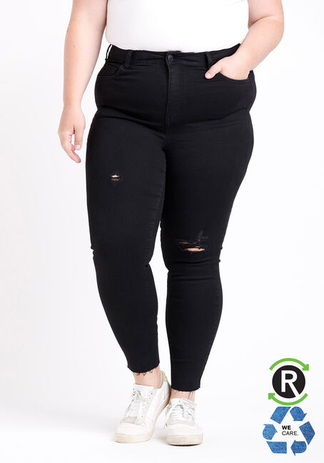 Women's Plus Size High Rise Black Destroyed Ankle Skinny Jeans