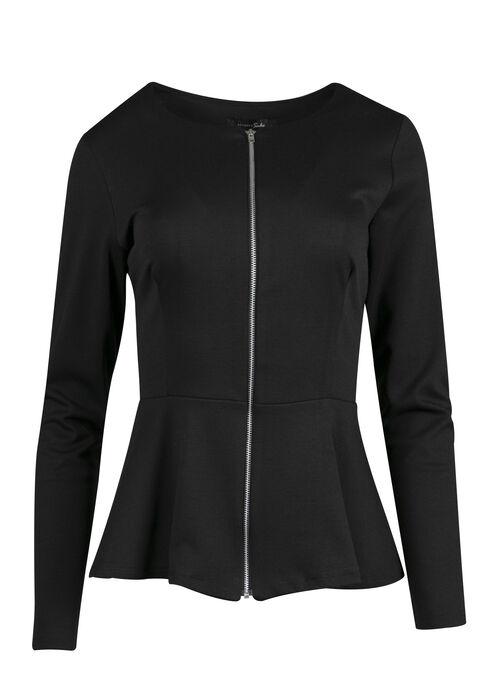 Ladies' Peplum Jacket, BLACK, hi-res