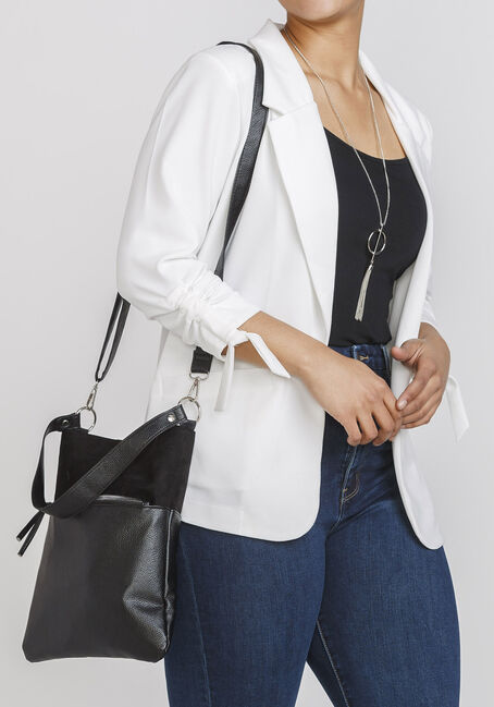 Women's Crossbody Tote Bag, BLACK, hi-res
