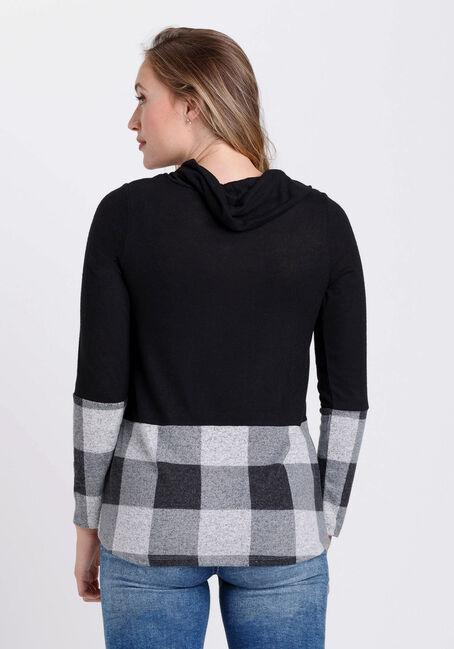 Women's Plaid Twist Hem Top, BLACK, hi-res