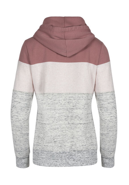 Ladies' Love Colour Block Hoodie, DUSTY ROSE MIX, hi-res
