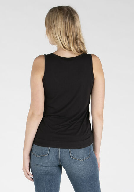 Women's Scoop Neck Loose Fit Tank, BLACK, hi-res
