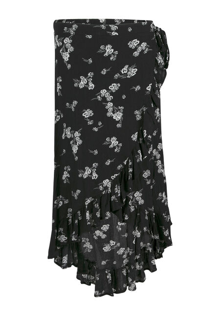 Women's Floral Wrap Midi Skirt