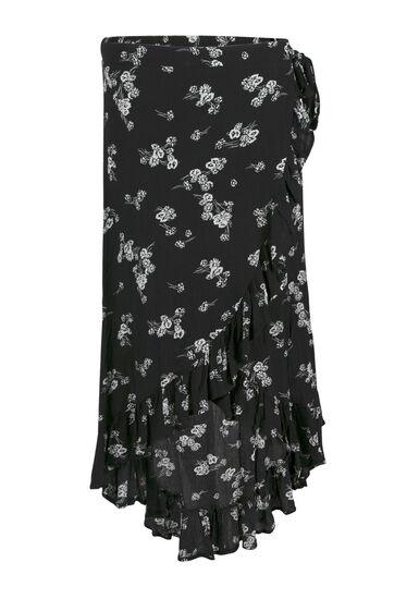 Women's Floral Wrap Midi Skirt, BLK/WHT, hi-res