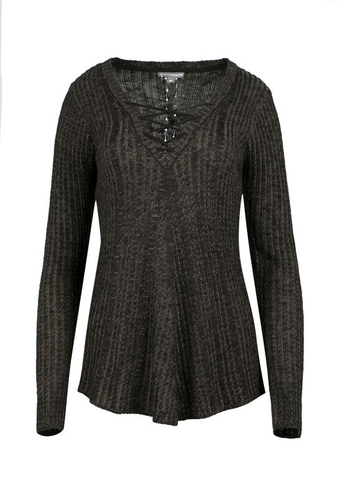 Ladies' Lace Up Sweater, MILITARY/BLACK, hi-res