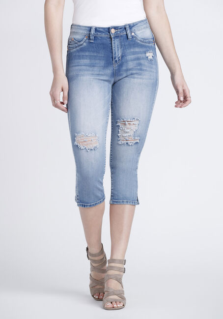 Women's High Rise Distressed Capri