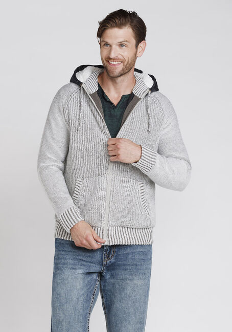 Men's Sweater Jacket, LIGHT GREY, hi-res