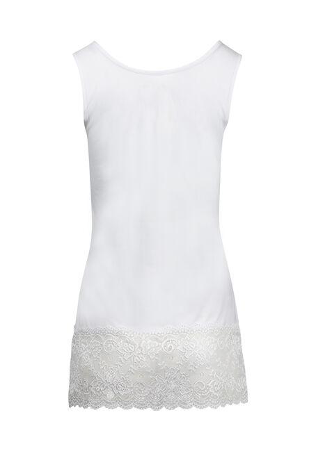 Women's Lace Trim Tunic Tank, WHITE, hi-res