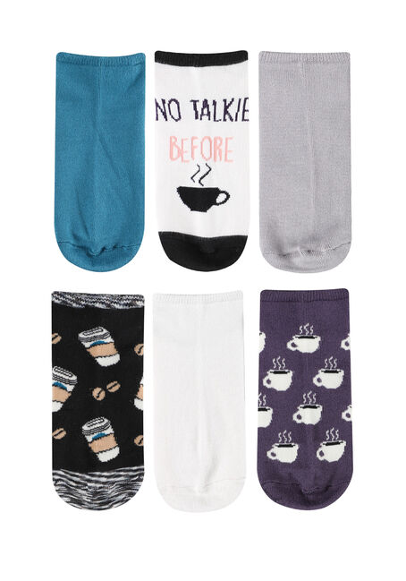 Women's 6 Pair Coffee Socks, MULTI, hi-res