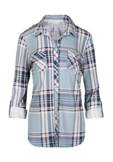 Women's Relaxed Fit Knit Plaid Shirt, MINT, hi-res