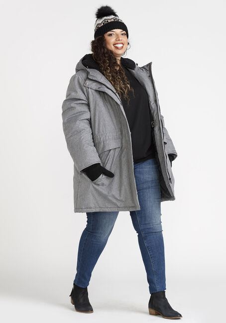 Women's Hooded Anorak Jacket, TEXTURED GREY, hi-res