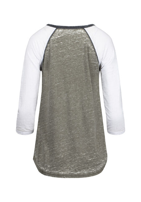 Women's Burnout Baseball Tee, MOSS/WHITE, hi-res