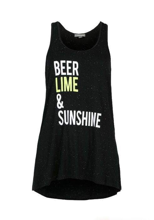 Ladies' Beer, Lime & Sunshine Tank, BLACK, hi-res