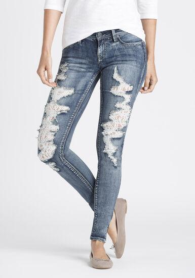 Women's Destroyed Lace Skinny Jeans, MEDIUM WASH, hi-res