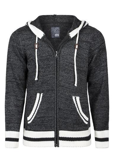 Men's Zip Up Cabin Sweater, CHARCOAL, hi-res