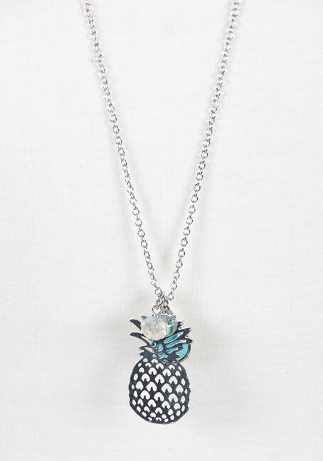 Ladies' Pineapple Charm Necklace, RHODIUM, hi-res