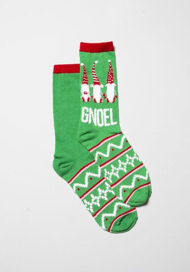 Women's Holiday Crew Socks, GREEN, hi-res