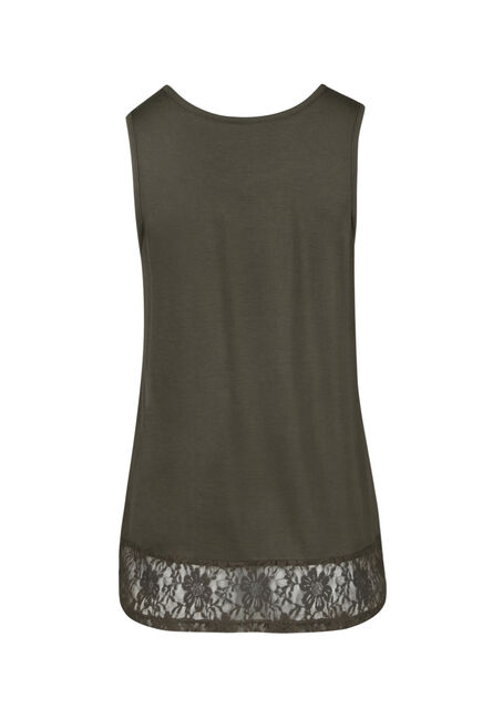 Ladies' Cage Neck Lace Hem Tank, MOSS STONE, hi-res