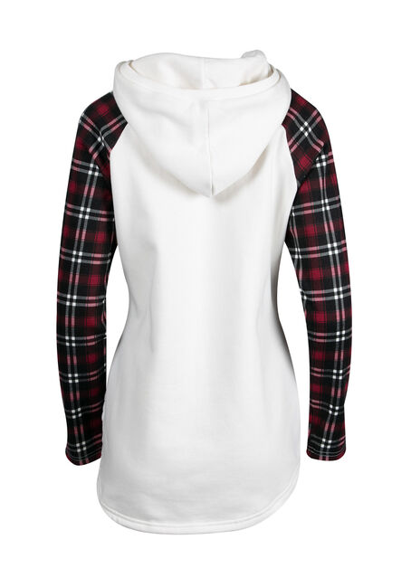 Women's Plaid Baseball Hoodie, IVORY, hi-res