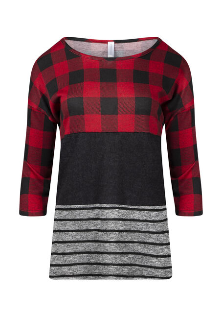 Women's Plaid Colour Block Top