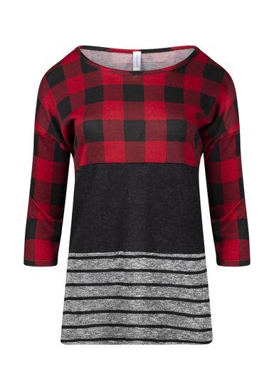 Women's Plaid Colour Block Top, RED, hi-res